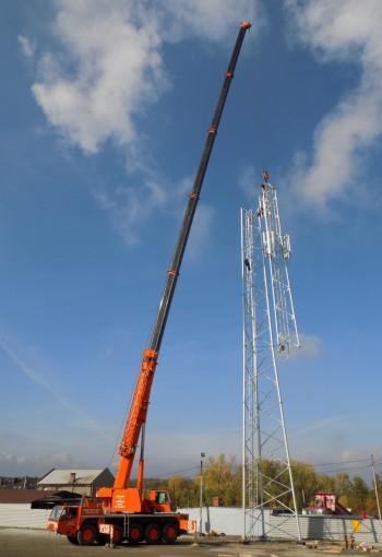 Żuraw Samojezdny Demag 140 Ton Montaż Wieży Telekomunikacyjnej W Łaziskach Górnych